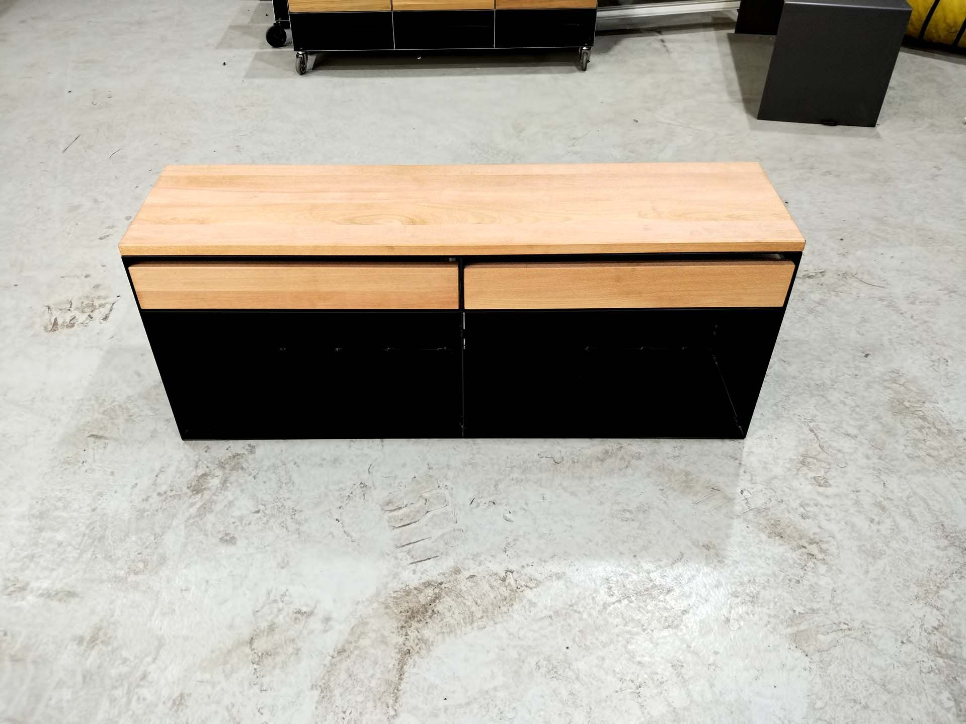 Sideboard Lowboard Classic 009 Spezial Schwarz Holz Metall In