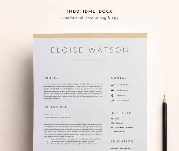 3 Page Resume Template INDD DOCX by BlackDotResumes on - resume template docx