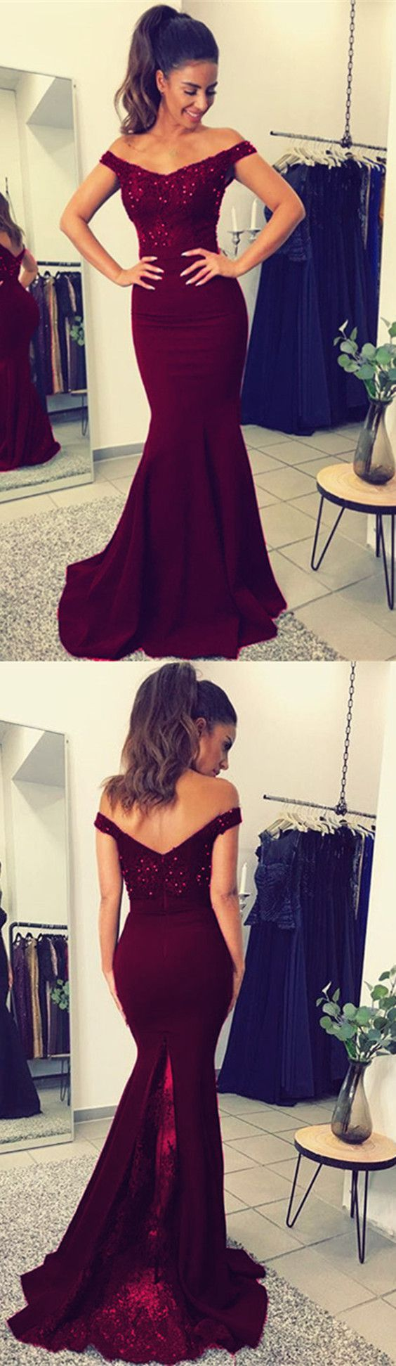 Burgundy off shoulder lace vneck long mermaid prom dress beaded