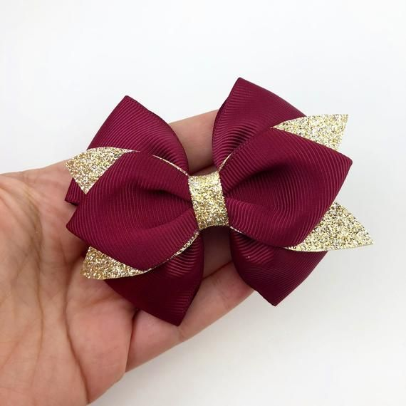Bow Hair Clip, Handmade Bow hair clip, Gift for Birthday Girl, Gold glitter bow, Pink bow, Burgundy Bow, Red Bow #bows