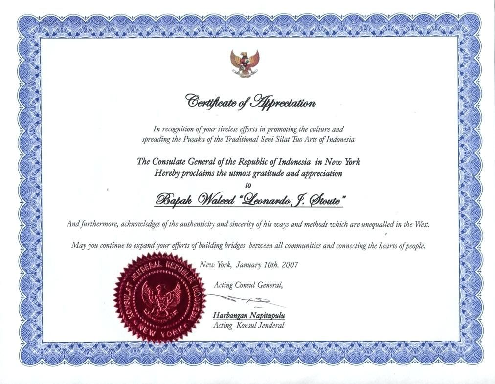 Employee Certificate Template Gold Seal Of Appreciation Formatted