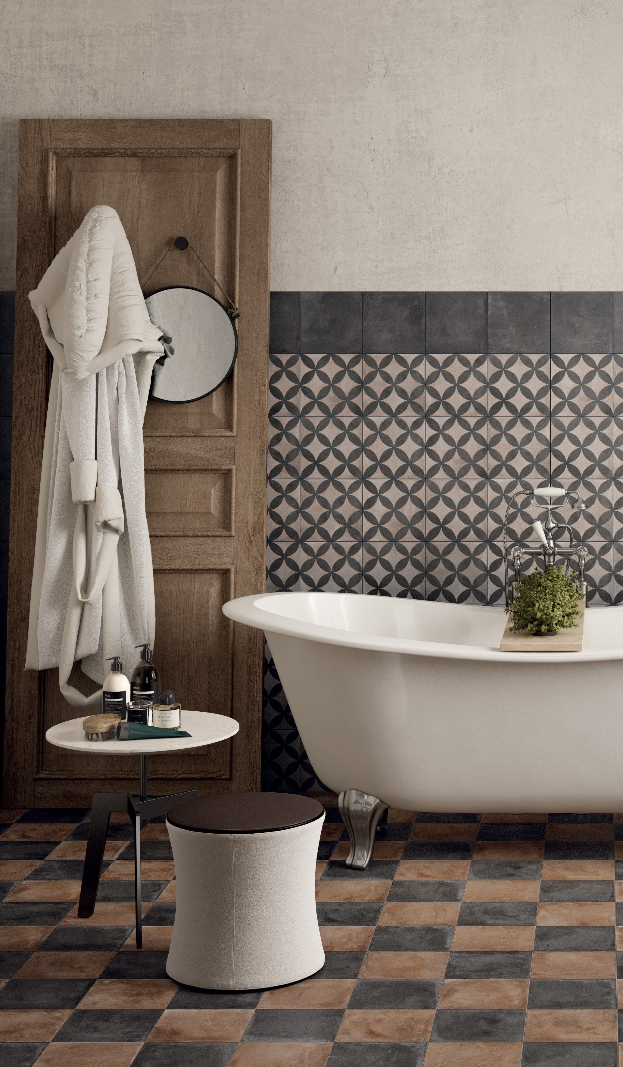 Embrace pattern in your country bathroom  #bathroom #country #ideas #tiles #pattern