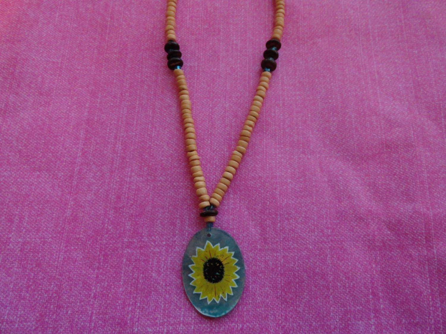 Sunflower hand painted shell bead necklace 50% off