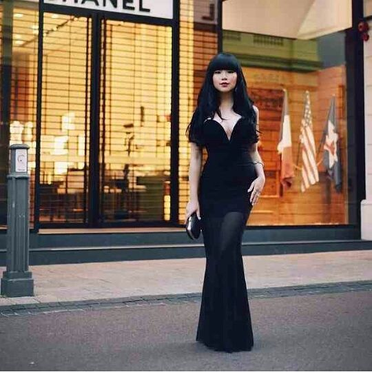 Blogger Wilabelle from Will Amazing in Rare London Fishtail maxi dress