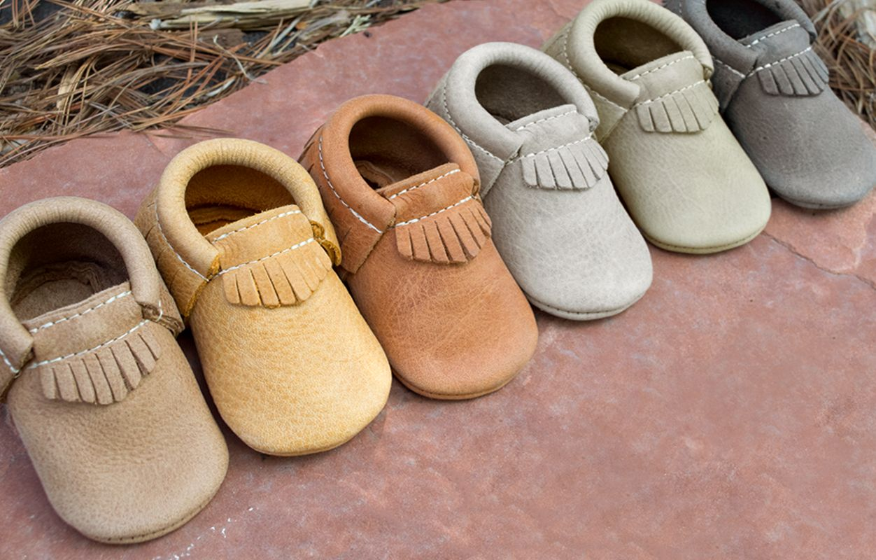 Beehive State Freshly Picked Soft Sole Leather Baby Moccasins Size 1