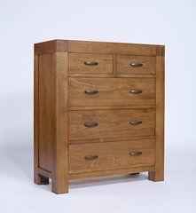 SERRA Rustic Oak 2 over 3 Chest of Drawers