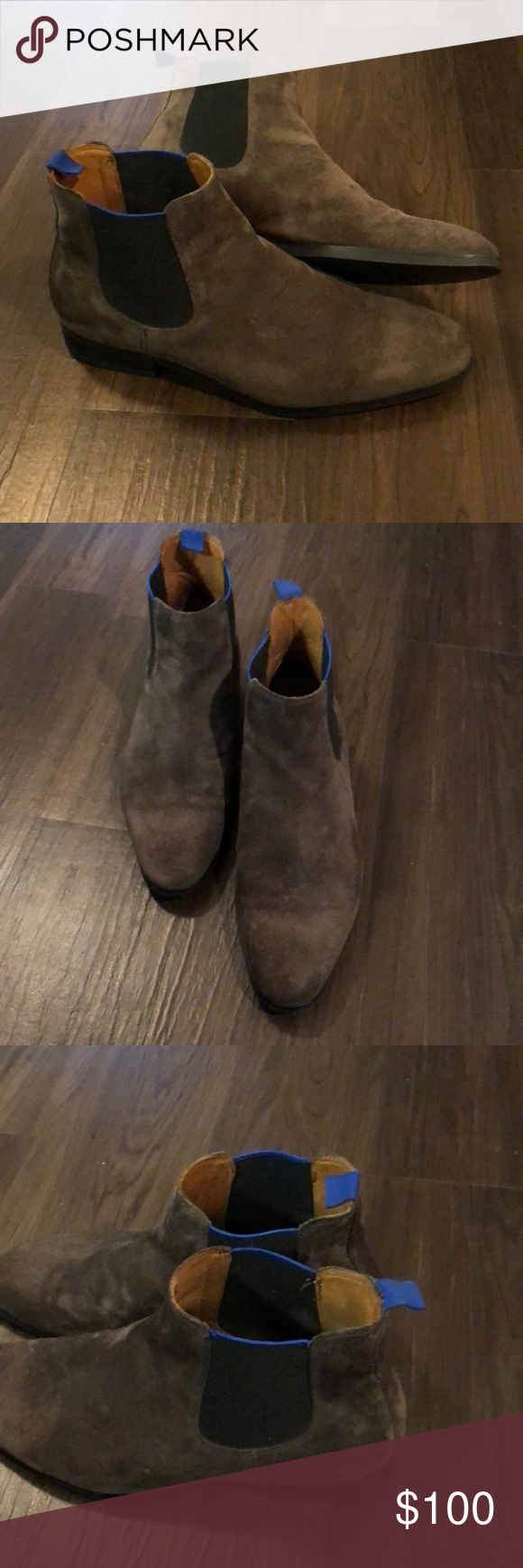 96ef9e34bd8 Broletto mens low-cut boots Low-cut boots made by Broletto. Only worn once  great condition and very comfortable. The boots are Gray with blue trim.