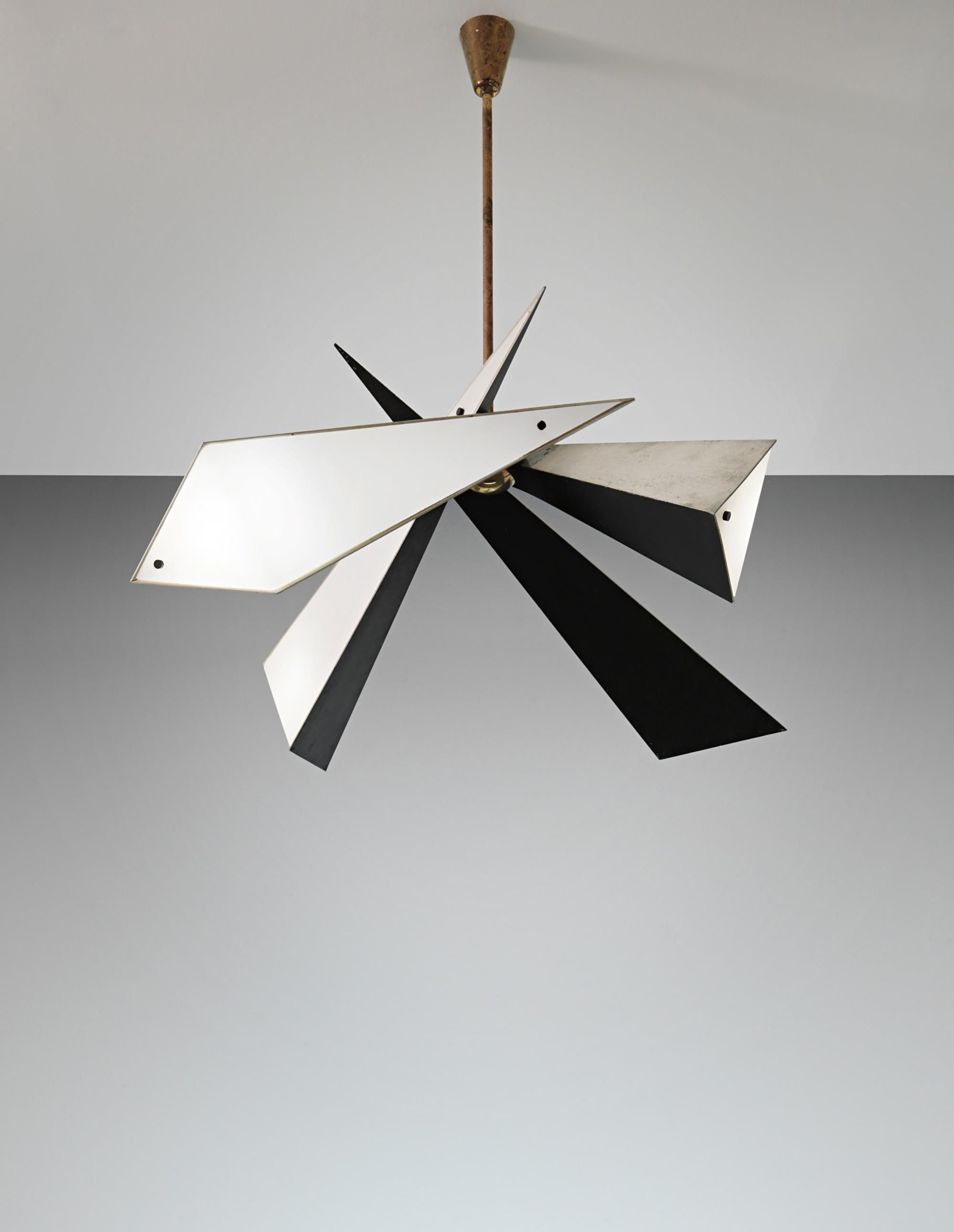 Angelo lelii painted metal brass and opaque glass for Arredo luce