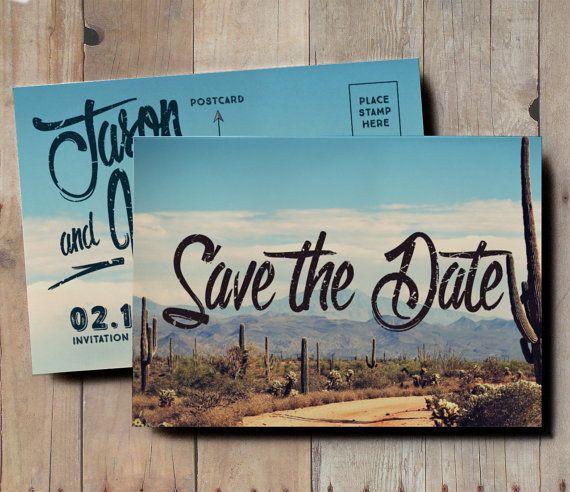 Wedding Invitations Tucson: Desert Save The Date Wedding Invitation, Vintage Postcard