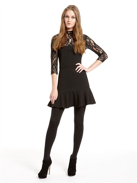 Three Quarter Sleeve Dress with Lace Yoke and Sleeves with Ruffle Hem (Black). DKNY. $355.00