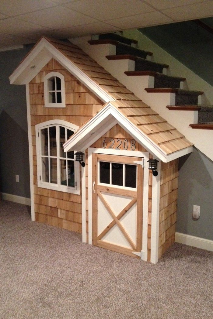 Under The Stairs Indoor Playhouse | Little fingers | playhouse plans ...