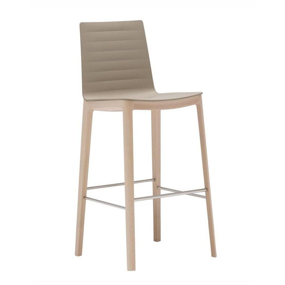 Andreu World Flex High Back Barstool 4 Leg Beech Wood