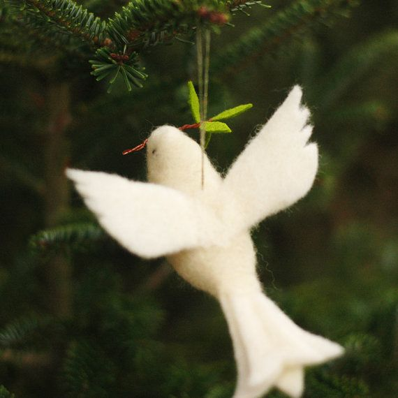 Photo of Peace Dove – Needle Felted Wool Ornament