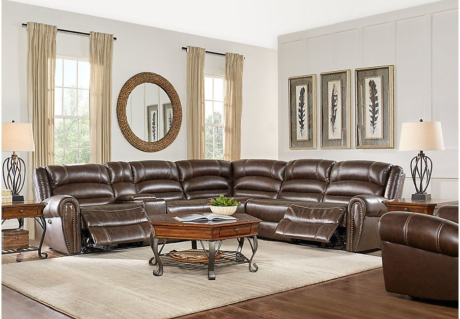 Donelle Brown Leather 6 Pc Reclining Sectional 2499 99 102w X 116d 39 5h Find Affordable Sectionals For Your Home That Will Complement