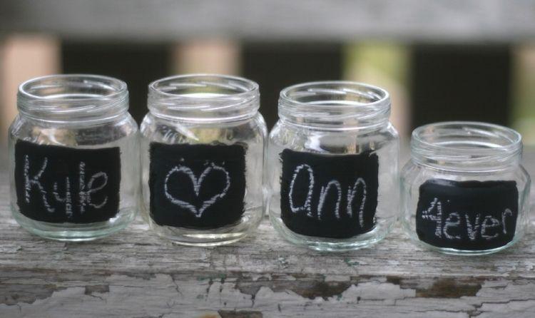 Windlicht Garten Schwarz Farbe Kreide Schreiben