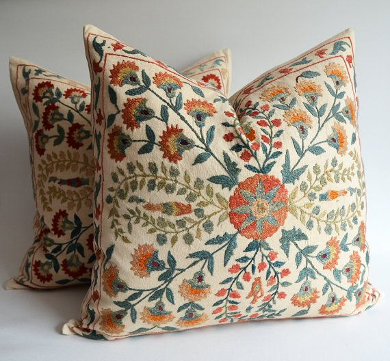 FREE Shipment / SET (2 Pillows) Hand Embroidered Silk Suzani Pillows, Organic Modern Bohemian ...