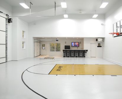 Epoxy flooring durable flooring garage flooring for Basketball garage