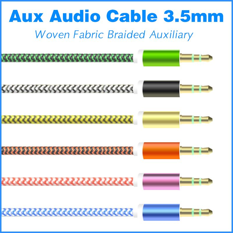1m Colorful Woven Fabric Braided Auxiliary Aux Audio Cable 3 5mm