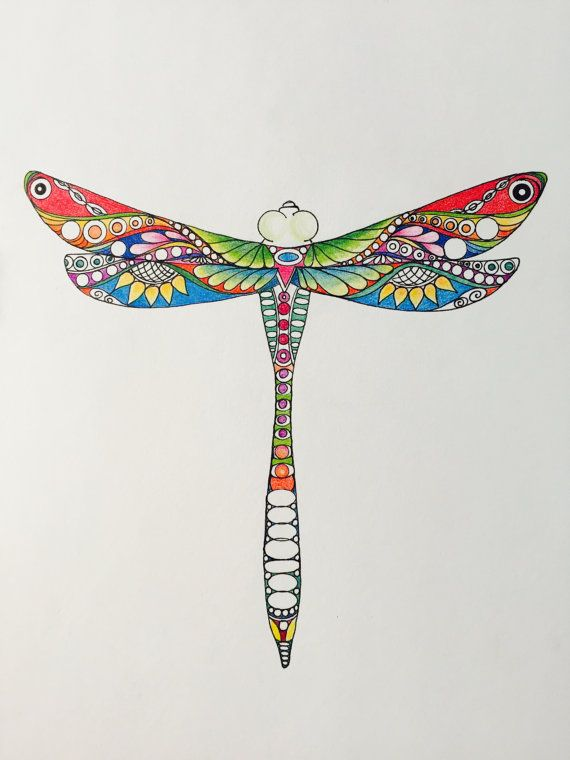Zentangle Dragonfly Colored Dragonfly Colored Zentangle Dragonfly