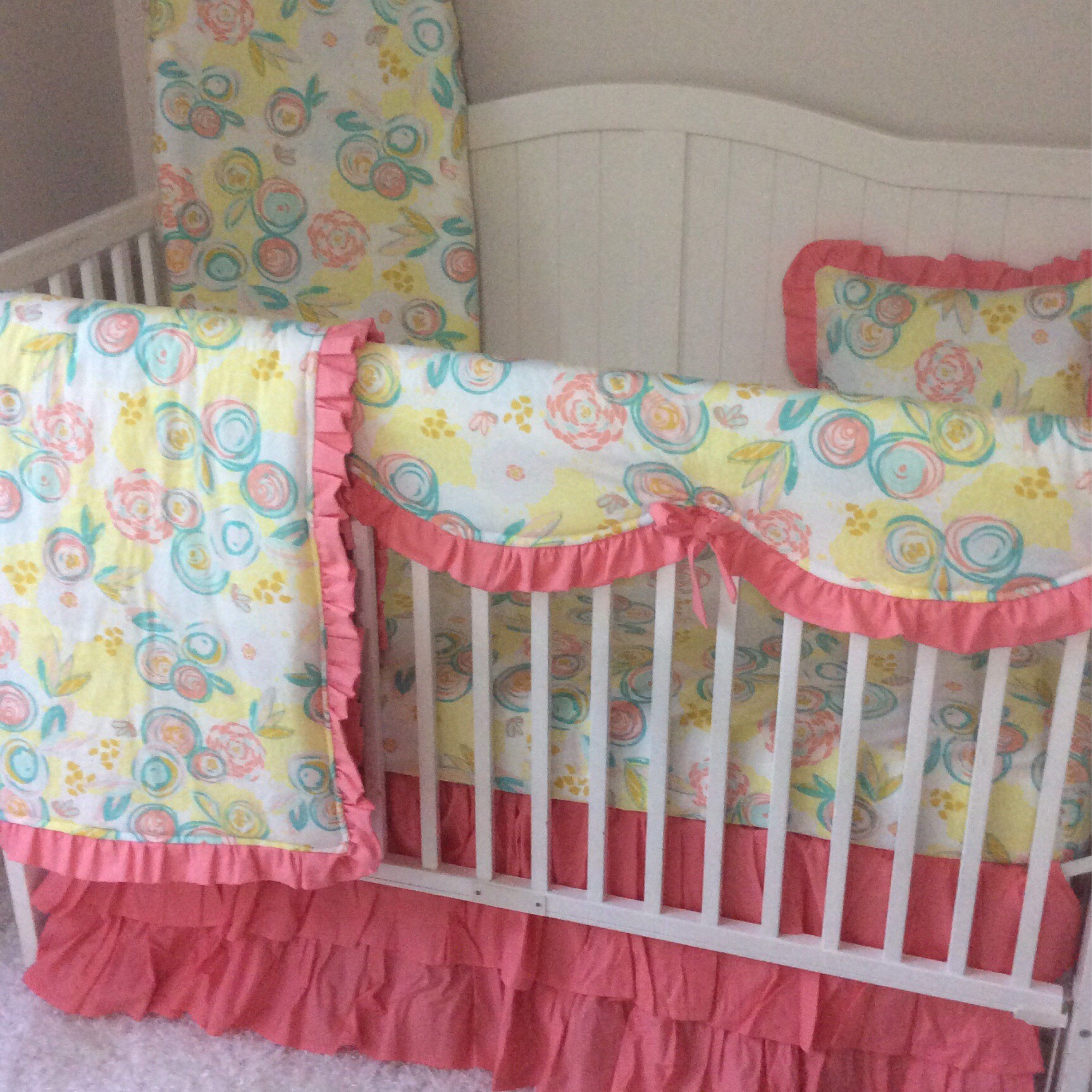 listing and watercolor coral aqua com blush floral etsy bedding turquoise pin girl a with favorite peach crib s from my pink personal ruffles set bed gold shop teal baby yellow