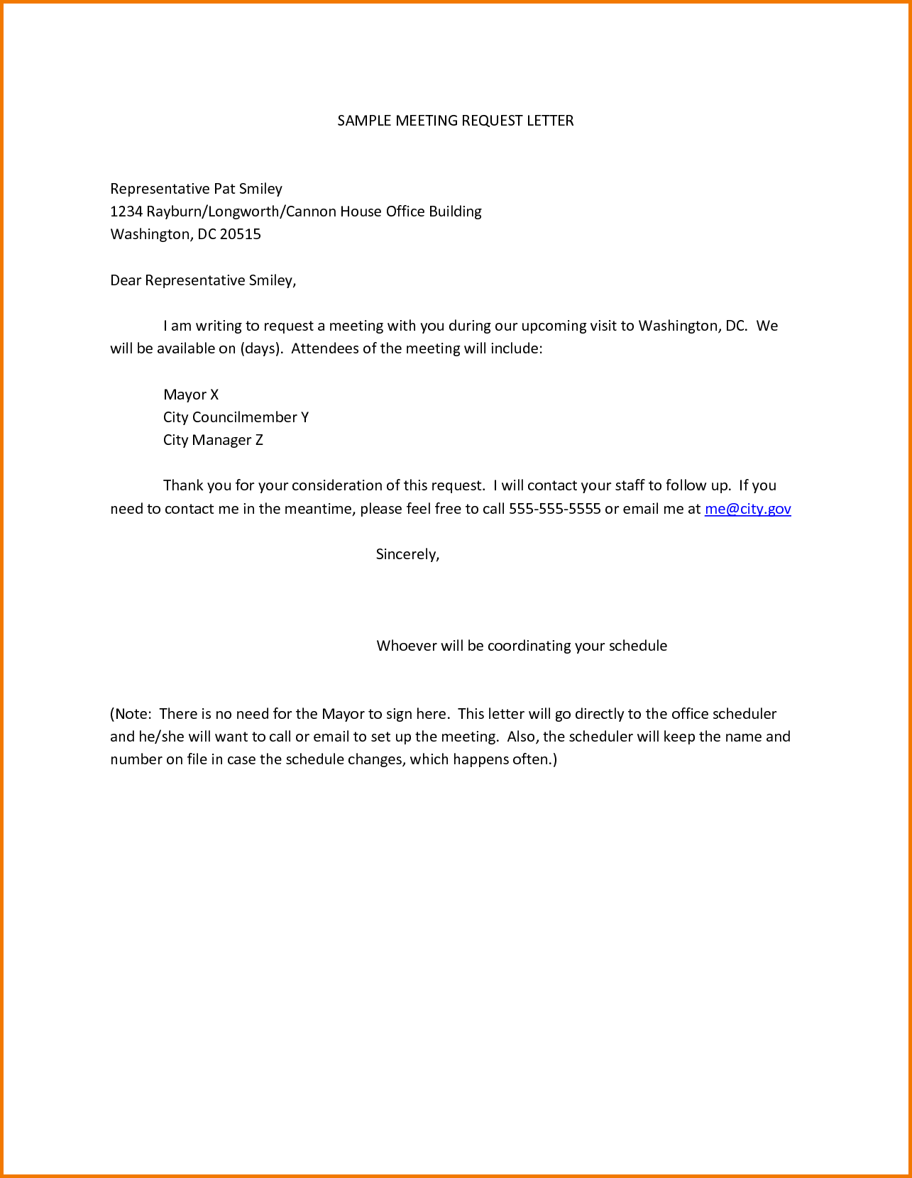 SAMPLE MEETING REQUEST LETTER Representative Pat Smiley Rayburn