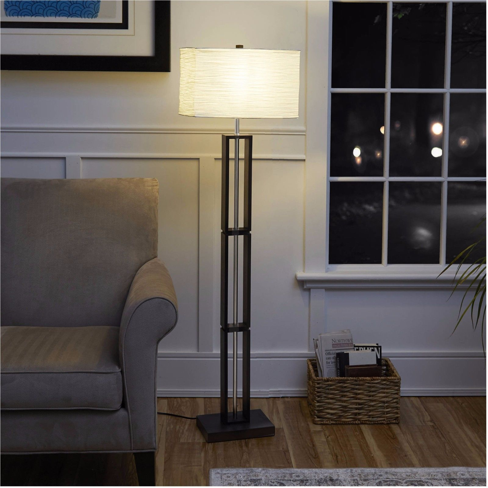 Details About Paper Shade Floor Lamp Rice Dark Wood Living Room Office Home Decor Night Light