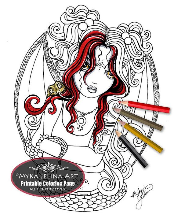 Abby Gothic Snake Fairy Digital Download Myka Jelina Art Abby Coloring Pages