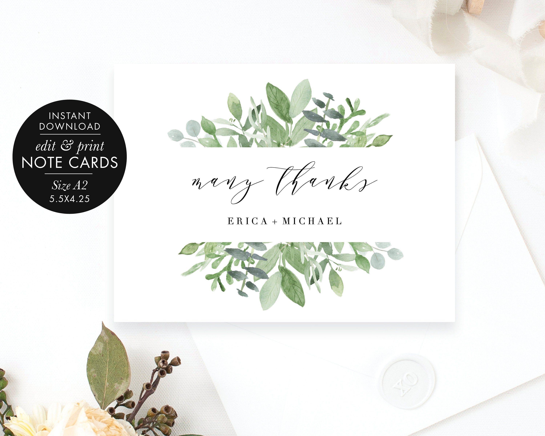 Greenery Wedding Thank You Notecard Flat A2 4 25x5 5 Thank You