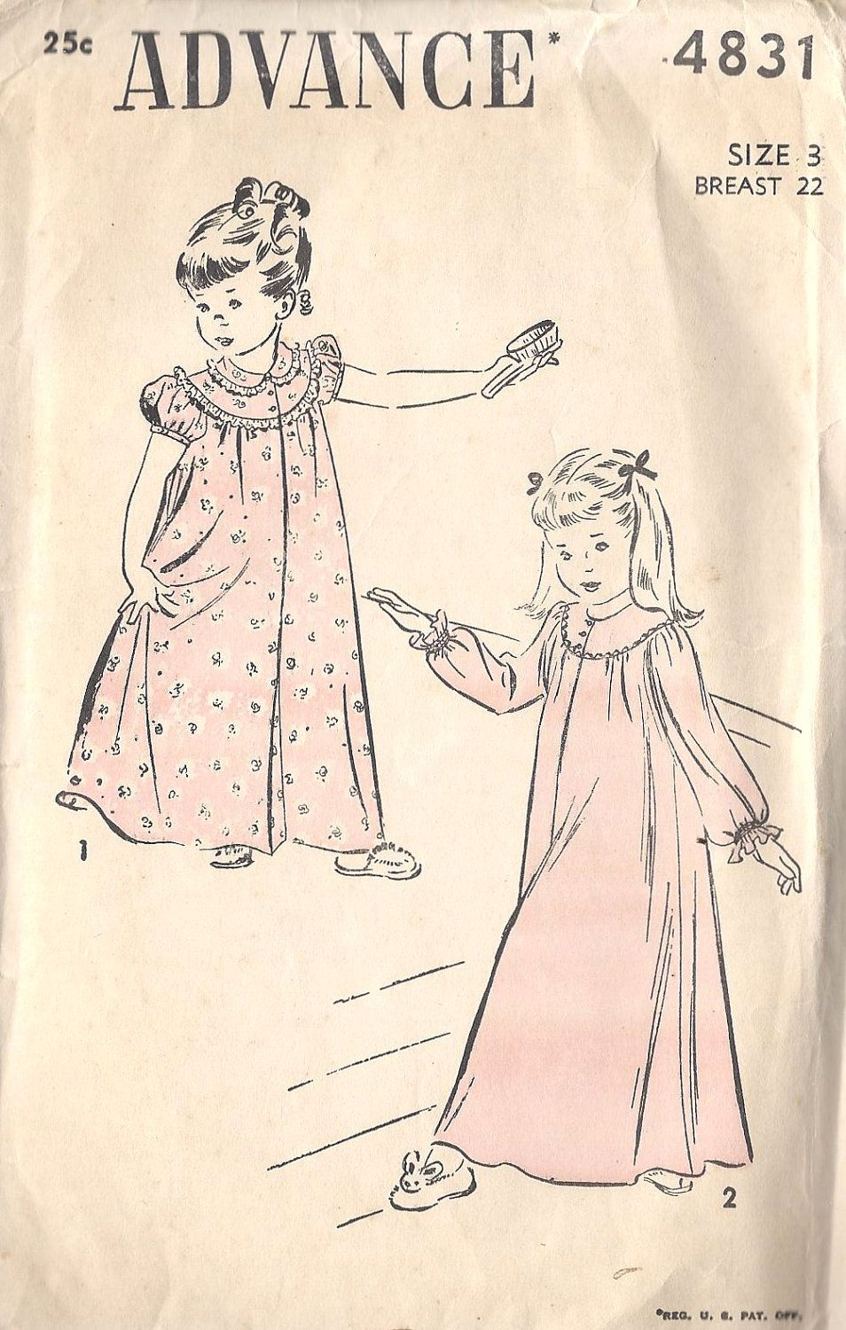 1950s Girls Nightgown Vintage Uprinted Sewing Pattern Advance 4831 ...