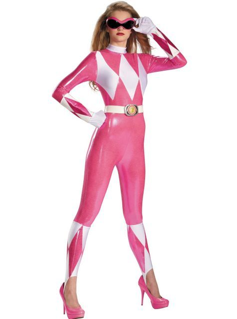 L M Saban/'s Pink Power Ranger Bodysuit Cosplay Costume adult women/'s sizes S