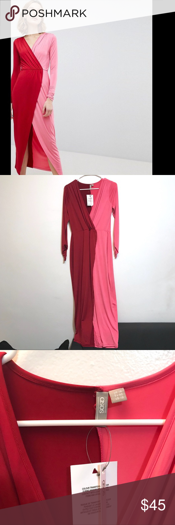 """5bd79ee7b88 NWT ASOS Wrap Maxi Dress Red Pink 10 Color Block New With Tags. Approximate  measurements  Length 54"""""""
