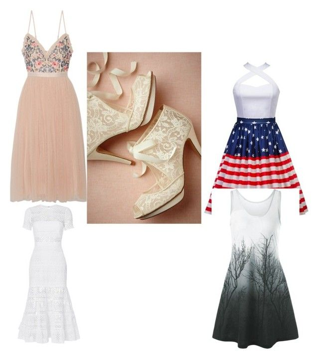 """The Story behind the heels"" by vivalasmariposa on Polyvore featuring Needle & Thread and self-portrait"
