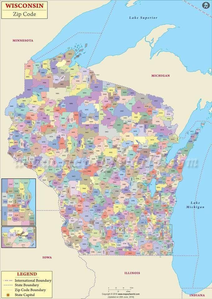 Wisconsin Zip Code Map Wisconsin Postal Code Zip Code Map