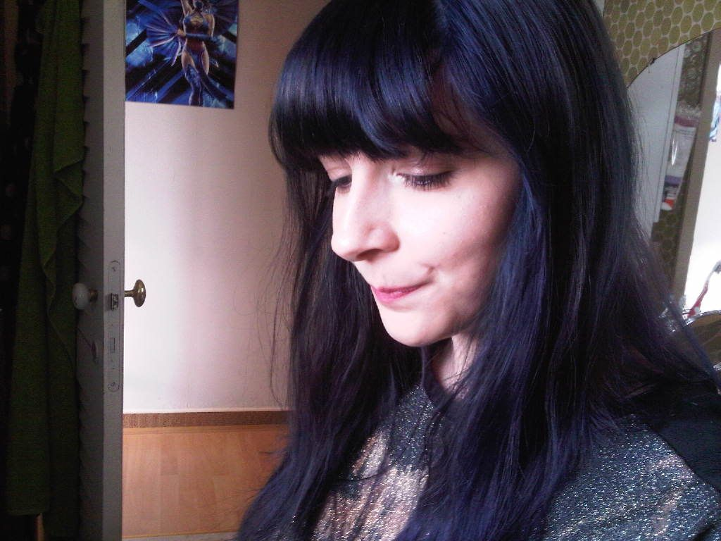 Blue Black Hair With Bangs Manic Panic Shocking Blue Midnight Blue Hair Shocking Blue