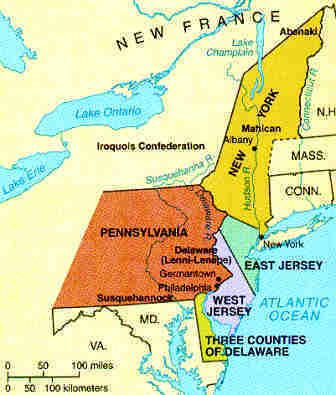 Middle Colonies Map Us History Colonial Times 13 Colonies