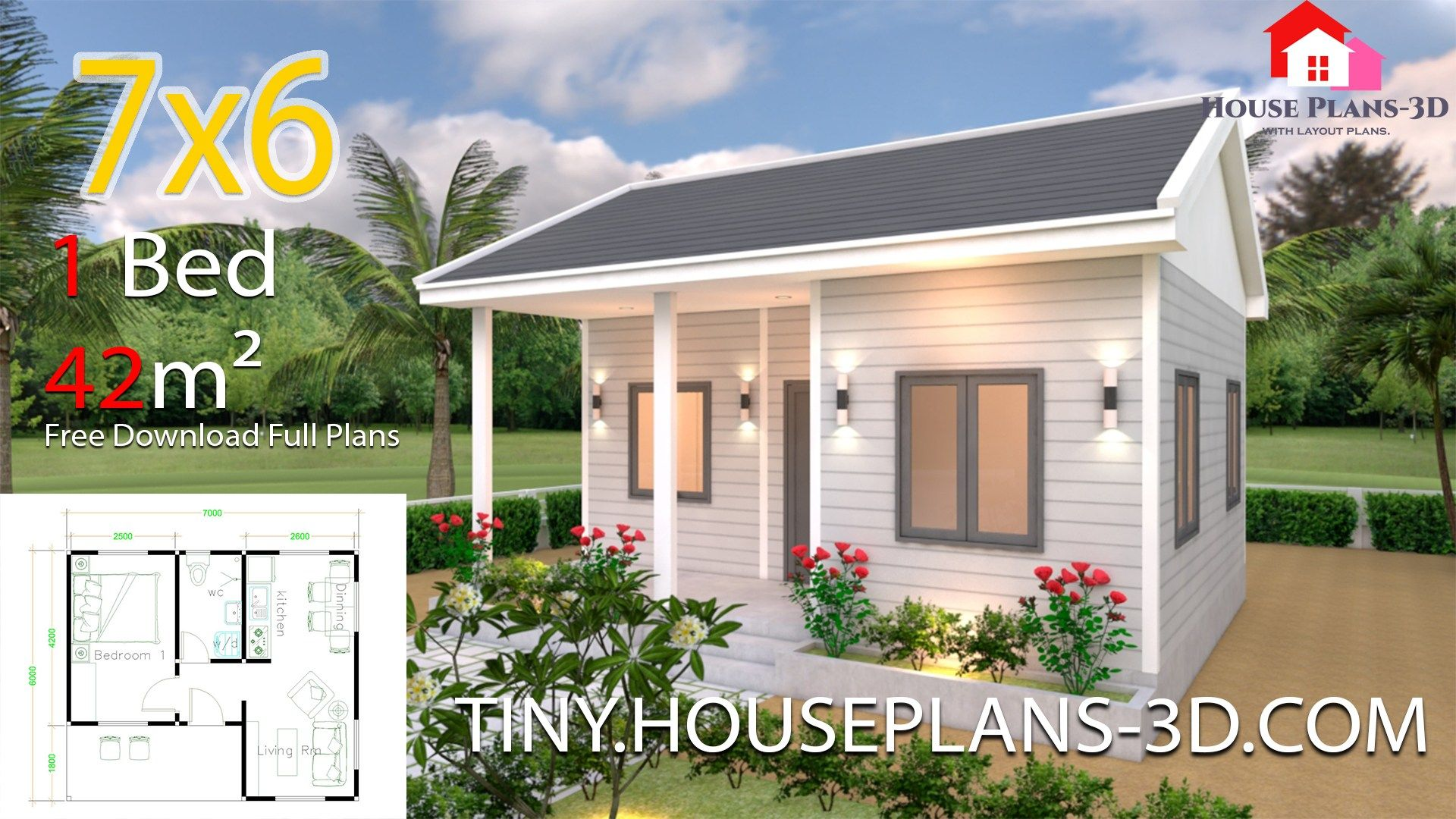 Tiny House Plans 7x6 With One Bedroom Gable Roofthe House Has Car Parking And Garden Living Small House Design Plans One Bedroom House Plans One Bedroom House
