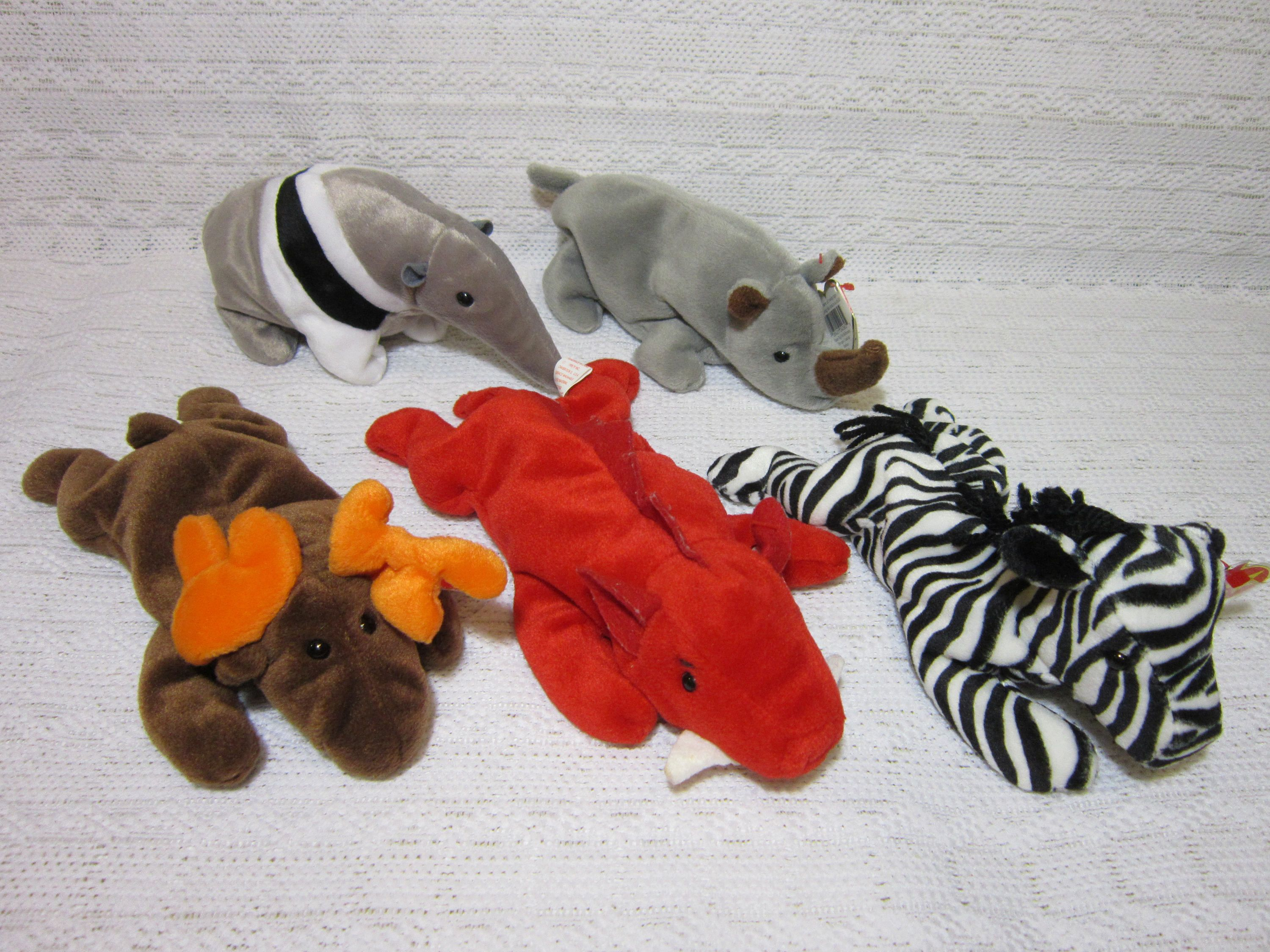 d101173fd53ff3 Collectible Ty Beanie Babies - Chocolate The Moose, Grunt the Razorback,  Ziggy The Zebra, Spike The Rhinoceros and Ants The Anteater by  RainbowConnection15 ...