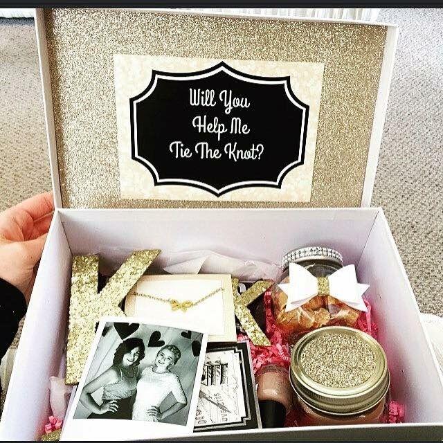 Diy bridesmaid proposal box using items from hobby lobby for Bride gifts from bridesmaid