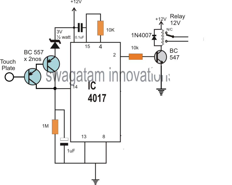 a surprisingly simple touch sensor switch circuit could in fact be constructed utilizing just