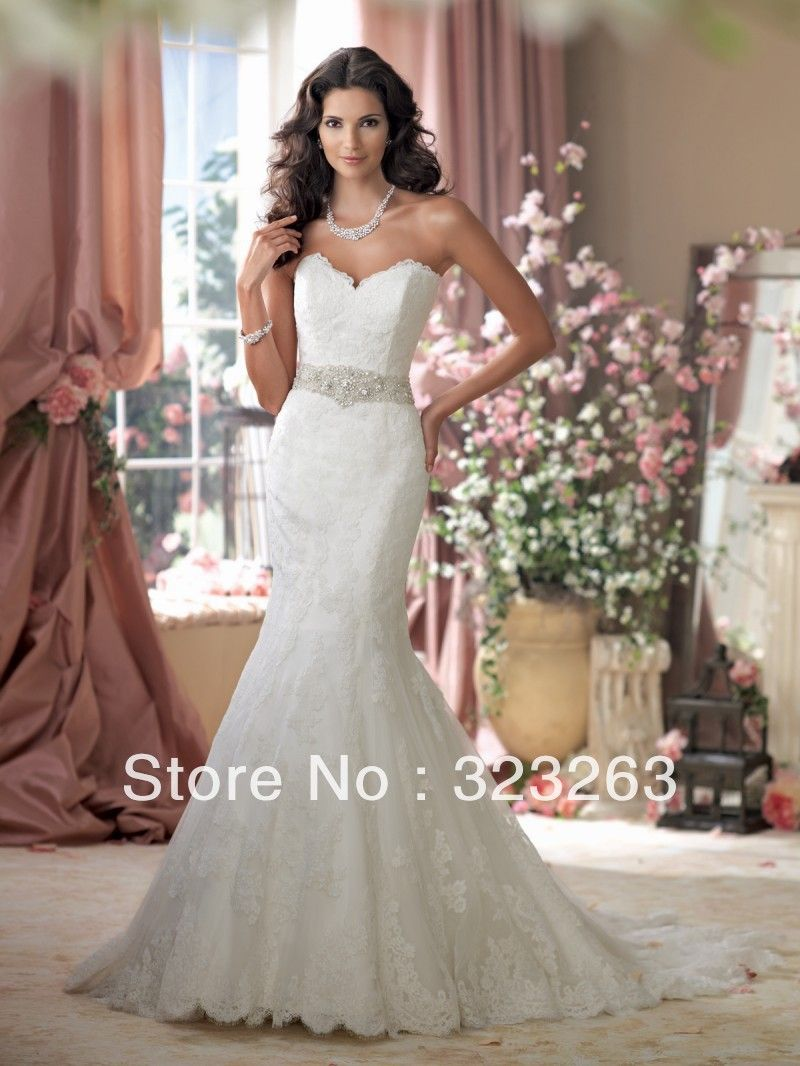 Vintage ivory mermaid bridal dress lace wedding gown for Belt for lace wedding dress