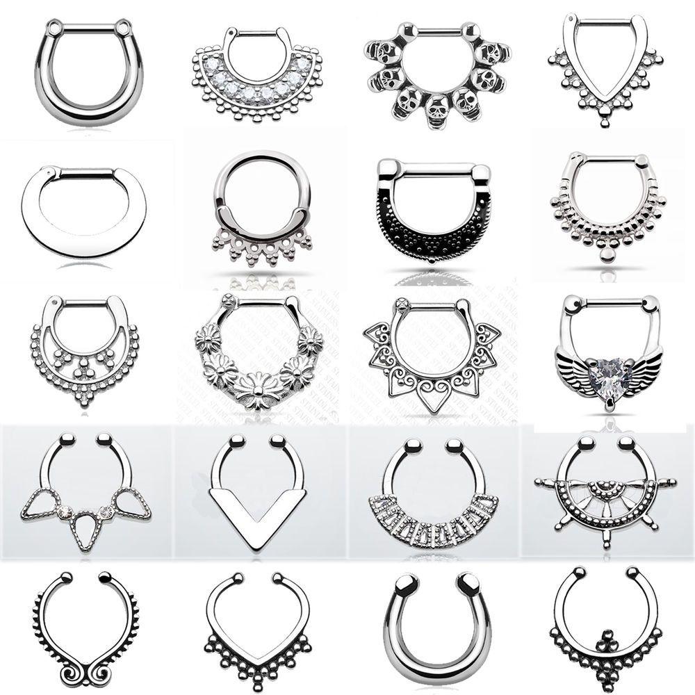 Piercing nose jewelry  PC Nose Hoop RinguFake Septum Clicker Multistyle Septum Piercing