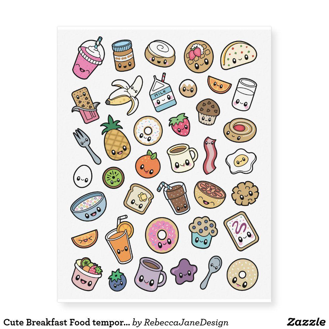 Cute Breakfast Food Temporary Tattoos Zazzle Com In 2020 Cute Food Drawings Cute Food Wallpaper Cute Animal Drawings Kawaii