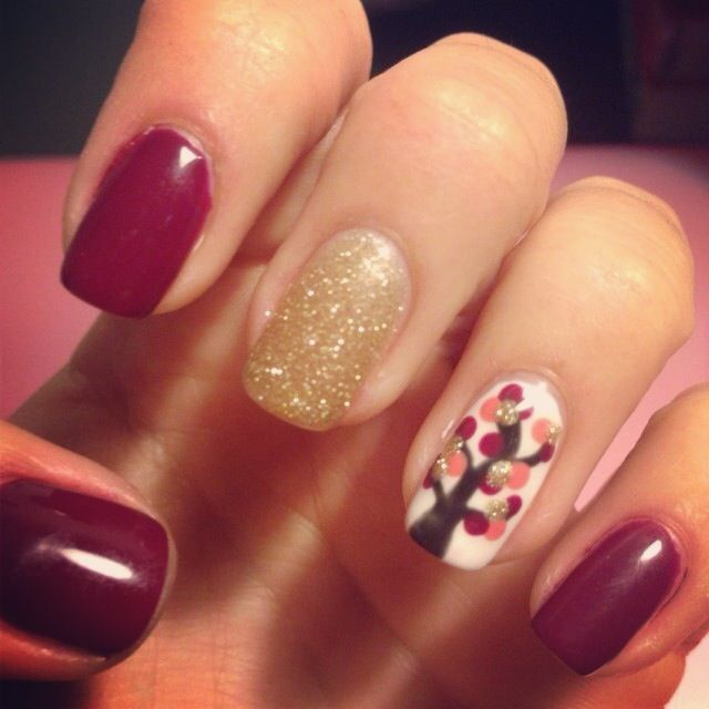 fabulous fall gel nail design