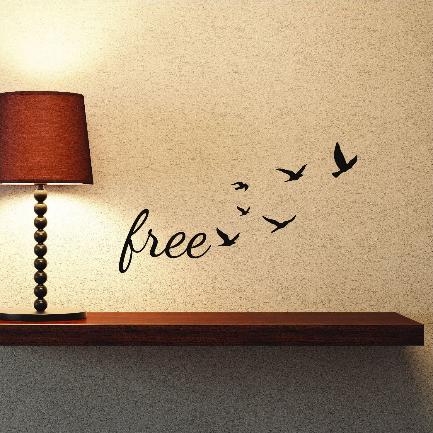 Freedom Wall Decal Quote with Flock of Flying Birds | Inspirational ...