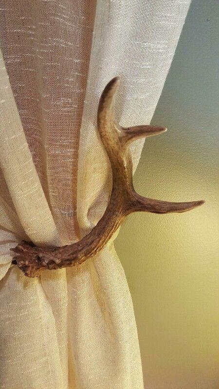 Deer Antler Curtain Tie Backs Used Husband S 6pt Buck To Make