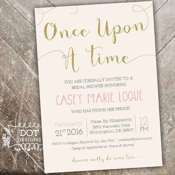 Once Upon A Time Bridal Shower Invitation Custom By