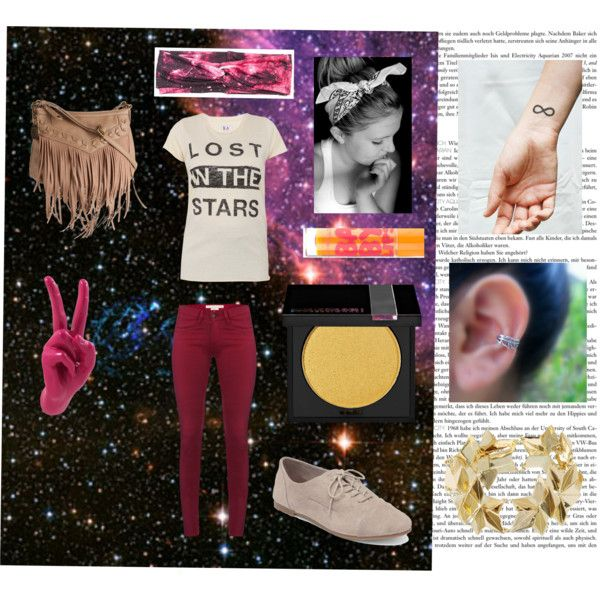 """""""Outfit for the stars"""" by oliviamichmyers on Polyvore ------------------------------------- Feel free to re-pin and like my posts on oliviamichmyers.polyvore.com :) _________________________________ Featured in this photo - Lost in the stars tshirt, Maroon skinny jeans, tan fringe purse, galaxy print headband, baby lips lip balm, ear cuff, infinity tattoo, origami bracelet, oxfords, yellow eyeshadow from Sephora"""