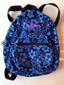 Jansport Hawaiian Blue Floral Small Corduroy Backpack Bookbag Travel Bag  1ae678566bec7
