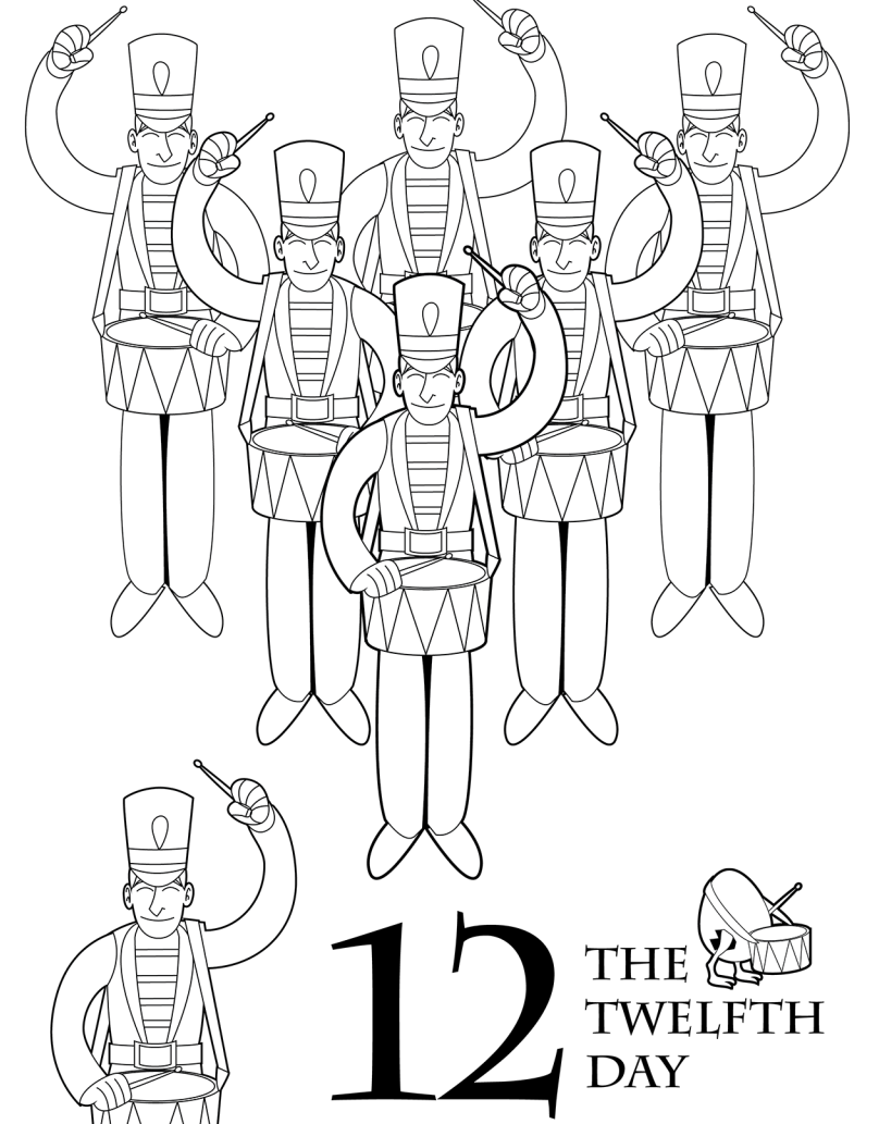 The 12 Days Of Christmas Coloring Book Colors