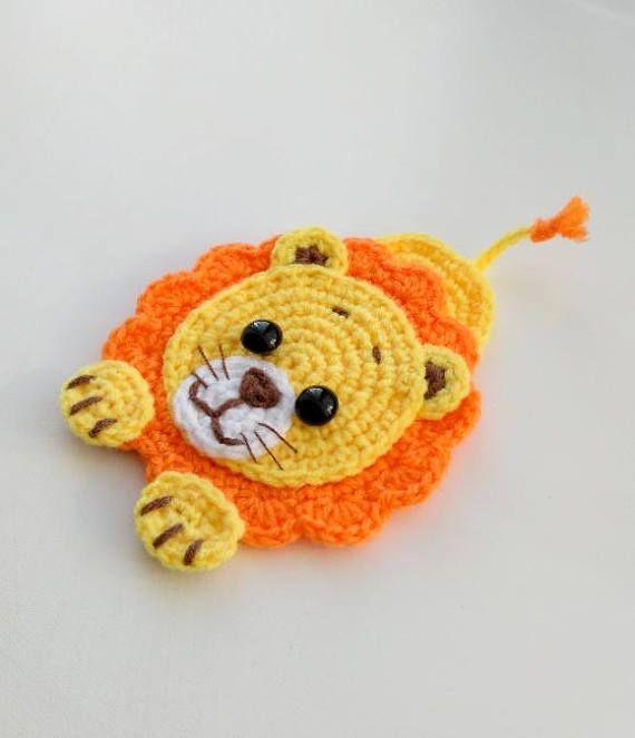 PATTERN Lion Applique Crochet Pattern PDF Jungle Animal Pattern Safari Zoo Animal Pattern Instant Download Motif Ornament Baby Blanket ENG #crochetapplicates